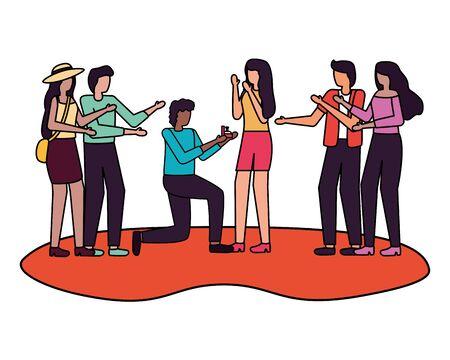 man proposing marriage to woman romantic love couples vector illustration Ilustração