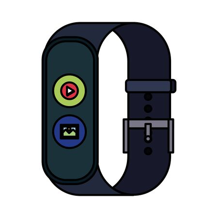smartwatch with media player button and picture file vector illustration design 向量圖像