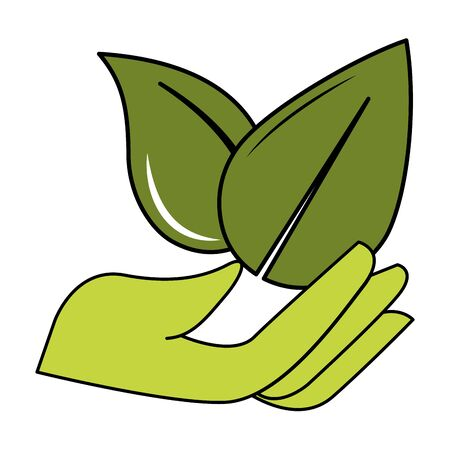 hand leaves natural eco friendly environment vector illustration