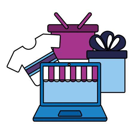online shopping ecommerce laptop clothes gift basket vector illustration