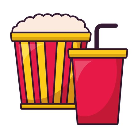 pop corn ad soda cinema movie vector illustration