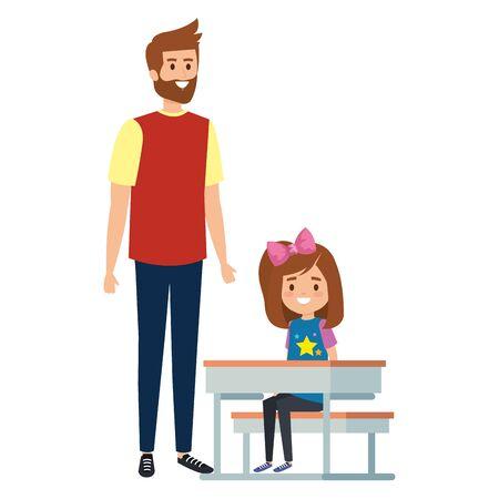 happy student girl in schooldesk with male teacher vector illustration design
