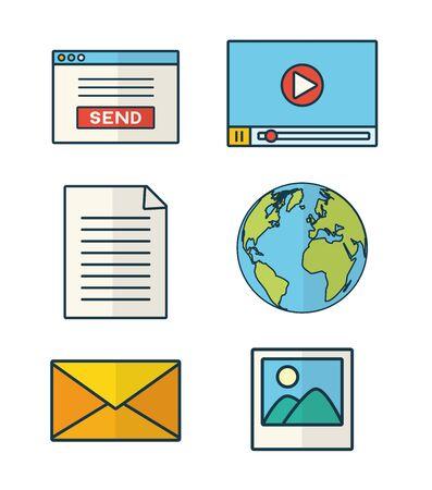 send email set message letter message vector illustration