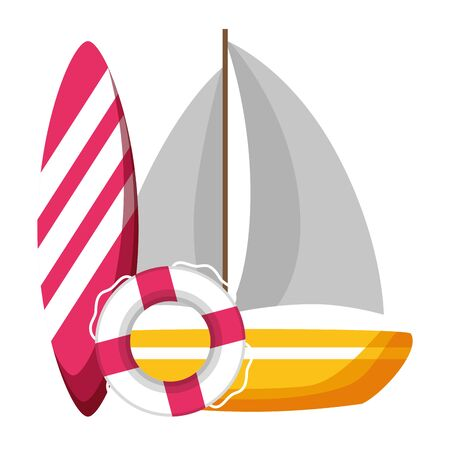 summer time holiday sailboat surfboard and lifebuoy vector illustration Ilustracja
