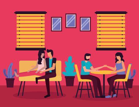 couples sitting in sofa and romantic man woman romantic activitiesvector illustration