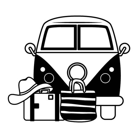 summer time holiday car suitcase hat vector illustration