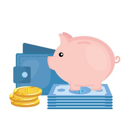 piggy savings with wallet and money vector illustration design