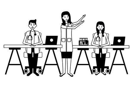 medical people staff professional in the office with equipmentvector illustration Çizim