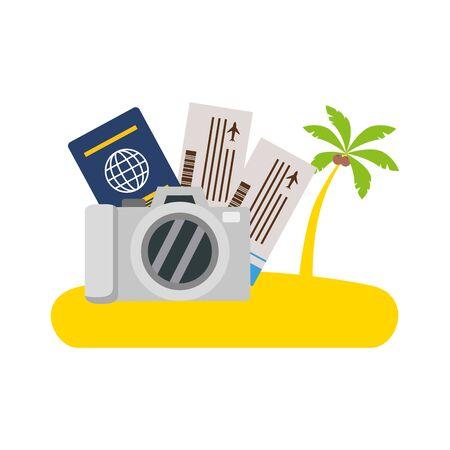 beach vacations camera tickets passport palm vector illustration Ilustracja