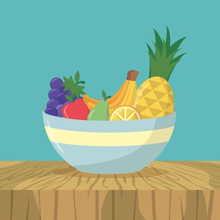 bowl with fruits sweet delicious plate vector illustration