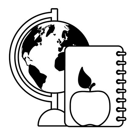 world map apple book back to school vector illustration