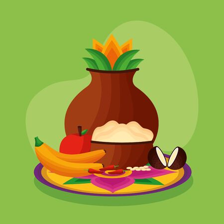 onam festival coconu fruits hindu celebration vector illustration 向量圖像