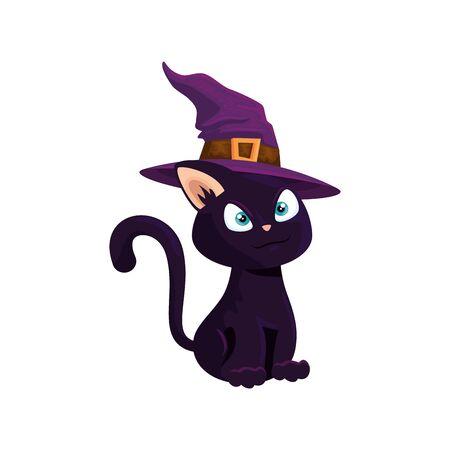 cat of halloween with witch hat vector illustration design Ilustração