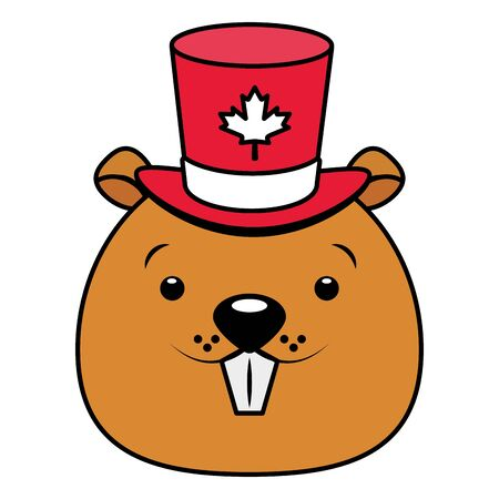 beaver with hat maple leaf happy canada day vector illustration Ilustracja