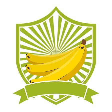 bananas tropical fruits ribbon emblem vector illustration
