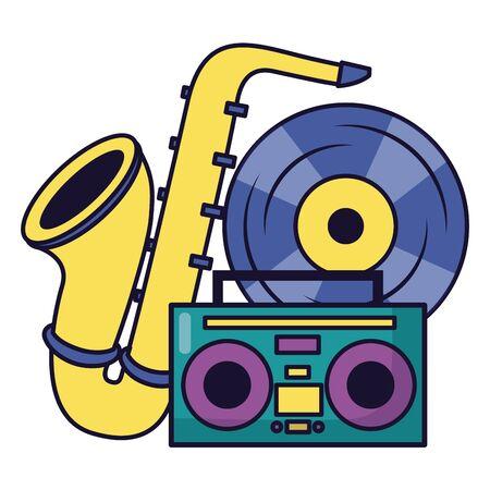 saxophone boombox stereo vinyl festival music poster vector illustration