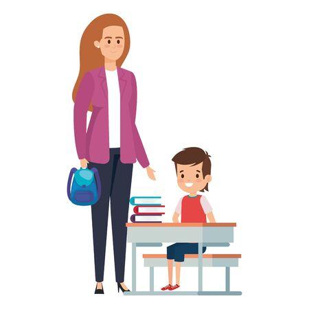 happy student boy in schooldesk with female teacher vector illustration design