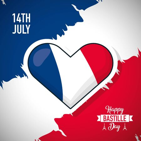 happy bastille day france flag grunge heart vector illustration