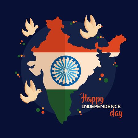 happy independence day india flag map and dove flying vector illustration