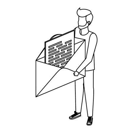 young man lifting envelope mail send vector illustration design