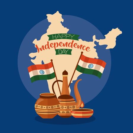 happy independence day india map flags candle ornaments vector illustration Illustration