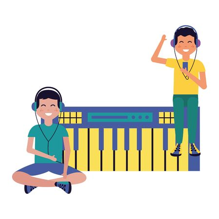 two boys with earphones synthesizer listening music vector illustration
