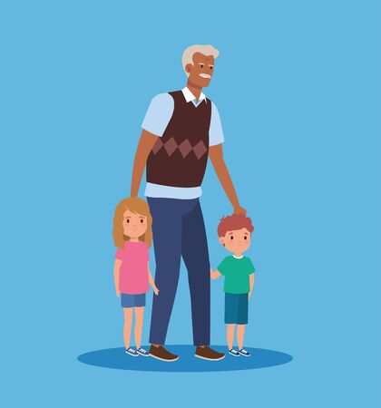 smile grandfather with girl and boy kids over blue background, vector illustration