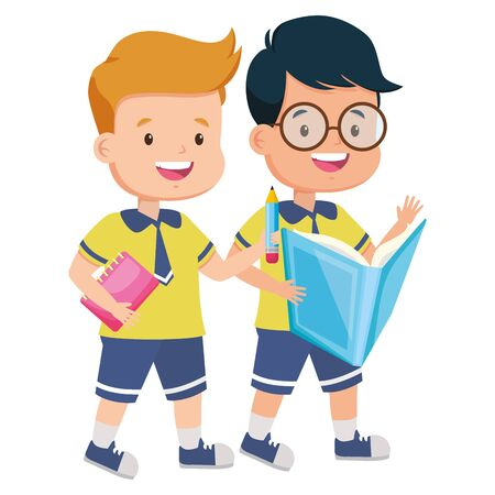 boys student with books back to school vector illustration