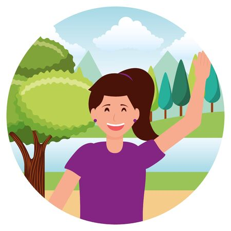 happy young woman character in the park vector illustration