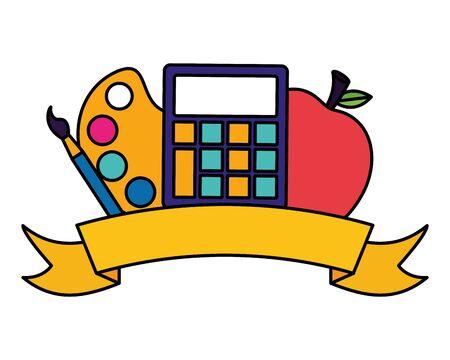電卓アップルパレットカラーエンブレムは、学校のベクトルのイラストに戻ります 写真素材 - 130198116