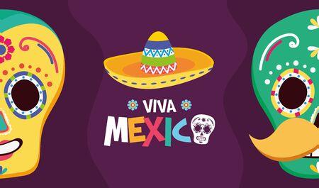 sugar skulls hat celebration viva mexico vector illustration Illustration