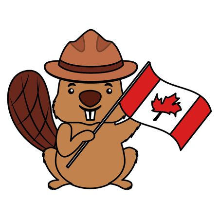 beaver with canadian flag happy canada day vector illustration