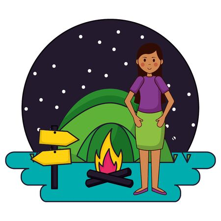 woman in the camping tent campfire night vector illustration