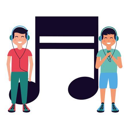boys with headphones listening music vector illustration