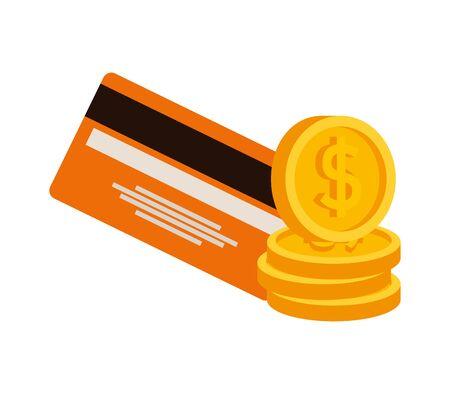 credit card money plastic with coins vector illustration design Illustration