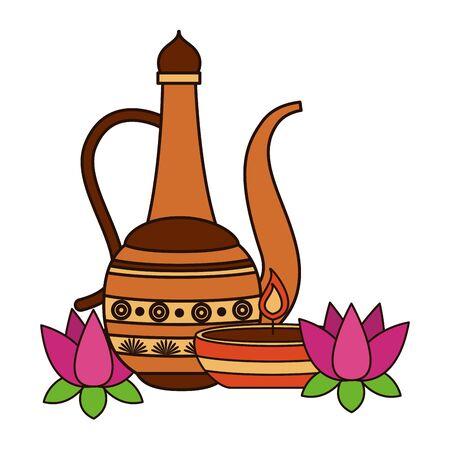 indian lotus with indian jar vector illustration design Ilustração