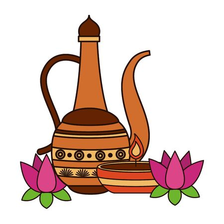 indian lotus with indian jar vector illustration design Illustration