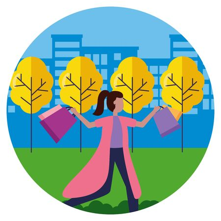 woman with shopping bags in the city park vector illustration