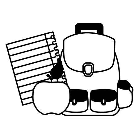 backpack apple paper back to school vector illustration
