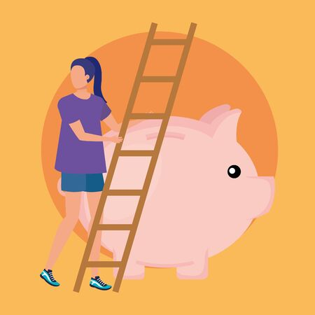 young woman with piggy savings and stairs vector illustration design Illustration