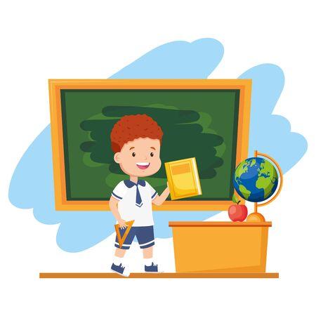 boy student with book chalkboard desk map apple back to school vector illustration Illustration