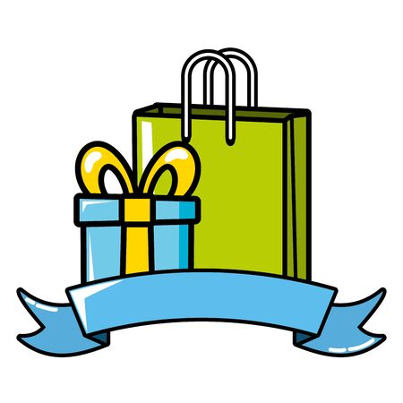 shopping bag and gift box on white background
