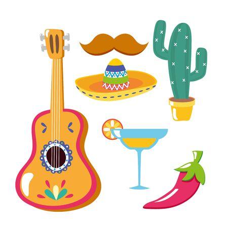guitar cocktail hat mustache cactus chili pepper celebration viva mexico vector illustration
