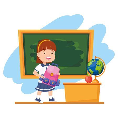 girl student with backpack chalkboard desk map apple back to school vector illustration