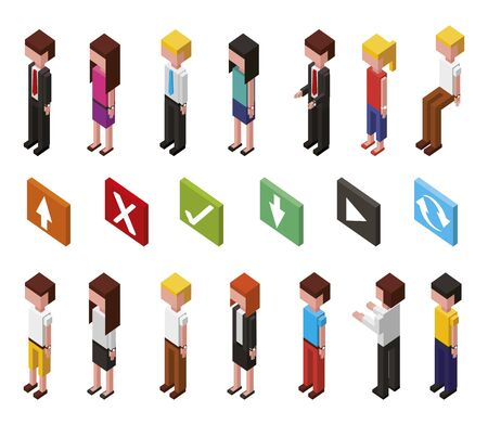 bundle of data center and users avatars isometric set icons vector illustration Illustration