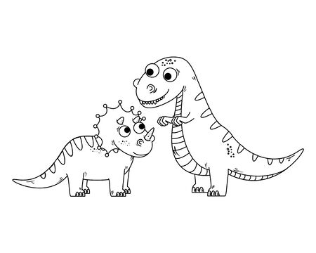 cute triceratops and tyrannosaurus rex characters vector illustration design