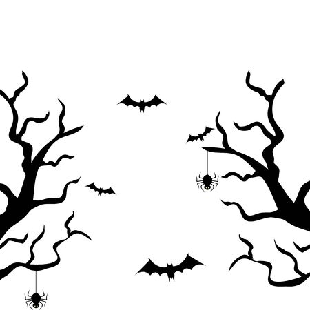 dry trees with bats flying and spiders vector illustration design
