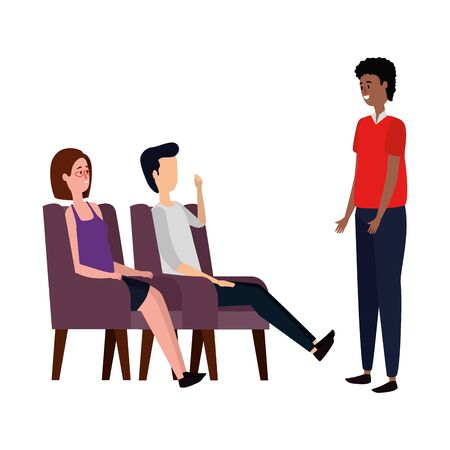 elegant business people workers in the sofa vector illustration design Vectores