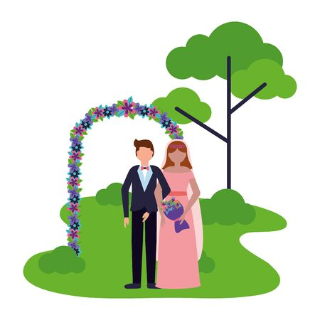 bride and groom arch flowers decoration wedding vector illustration Foto de archivo - 130205901