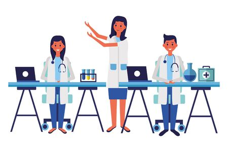 medical people staff professional in the office with equipmentvector illustration Vettoriali